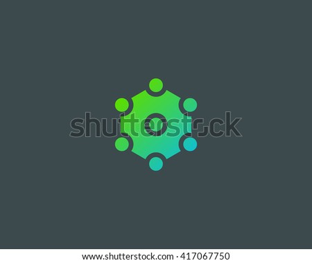 Abstract social media network biotechnology molecule atom dna logo design template. Medicine, science, technology, laboratory, vector logotype. Team work logistic structure icon - stock vector