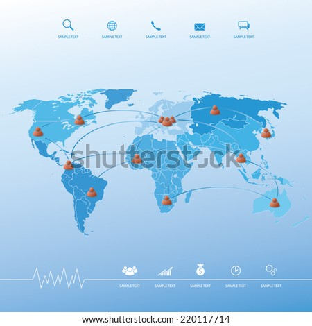 Abstract social network image. Vector connection concept background with world map. - stock vector
