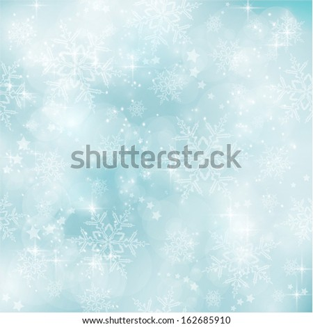 Abstract soft blurry background with bokeh lights, snow flakes and stars. The festive feeling makes it a great backdrop for many winter, Christmas designs. Copyspace. - stock vector