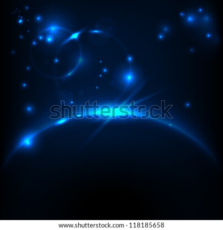 Abstract Space background for design, image with blue light, EPS10 Vector background - stock vector