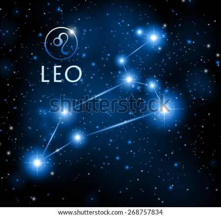 abstract space background with Leo constellation - stock vector