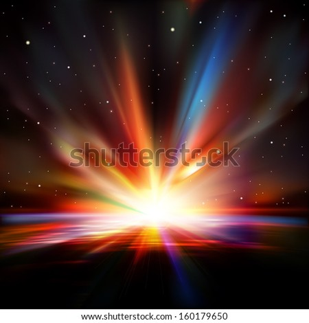 abstract space background with stars earth and sunrise - stock vector