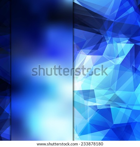 Abstract space blue card or invitation template with shining geometric polygonal background and place for your text. Fully editable. - stock vector