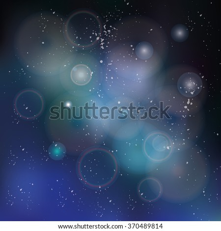Abstract space dark sky blurred background with dots stars,shiny bokeh.Vector science background,night backdrop.Futuristic mystery design template,universe blur texture,earth day banner - stock vector
