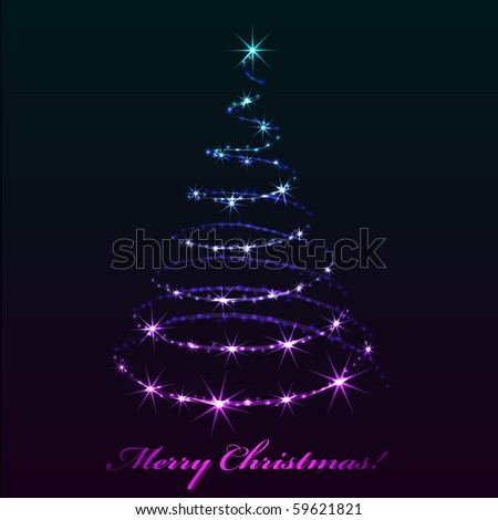 Abstract sparkling Christmas tree. EPS10 file. - stock vector