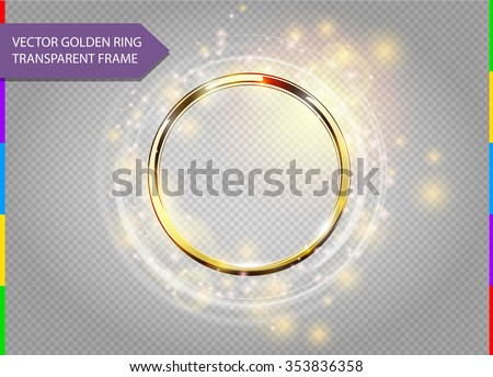 Abstract sparkling golden frame light effect on transparent background. Spark with ring glossy line. - stock vector