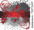 abstract spattered gray background with red floral elements - stock vector
