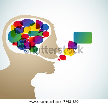 Abstract speaker silhouette with bubbles in the head - stock vector