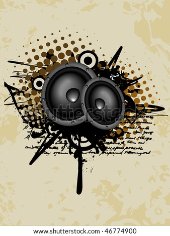 abstract speaker vector design with grungy look