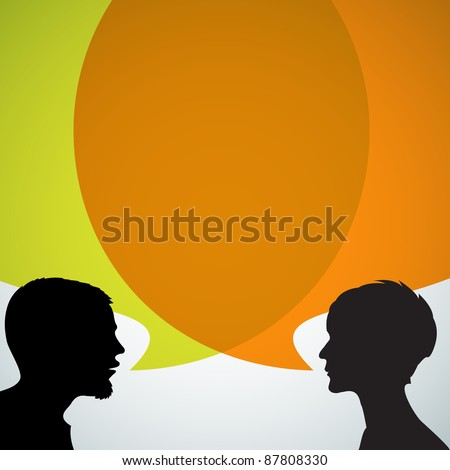 Abstract speakers silhouettes with big orange bubble (chat, dialogue, talk or discussion) - stock vector