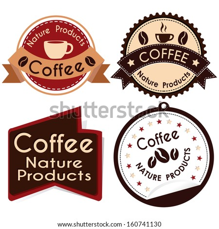 abstract special coffee labels on white background