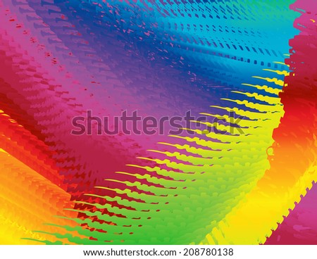 Abstract spectrum background-Rainbow spectrum colors of yellow red orange blue purple green scribbled texture background design - stock vector