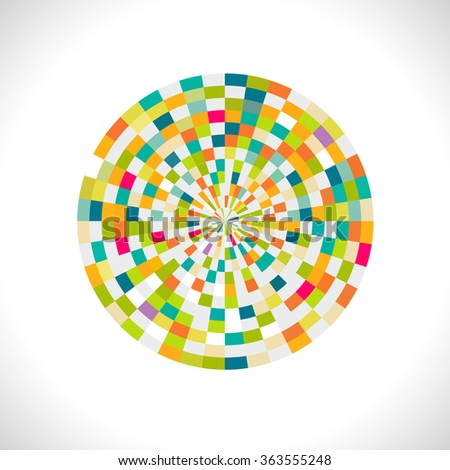 Abstract spectrum circle with creative geometric pattern, vector illustration