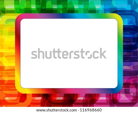 Abstract Spectrum Frame - Frame created with abstract oblong ring design in spectrum colors with copyspace - stock vector