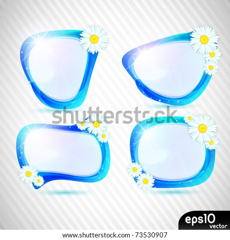 Abstract speech bubble with spring flower (vector set) - stock vector