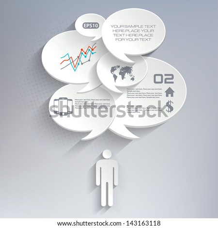 Abstract speech bubbles 3D Template - stock vector
