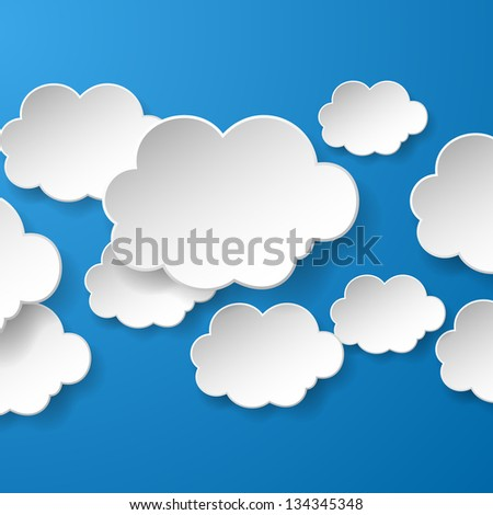 Abstract speech bubbles in the shape of clouds used in a social networks on blue background. Vector eps10 illustration - stock vector