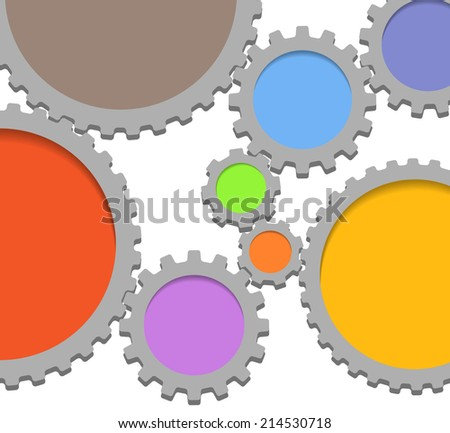Abstract speech clouds of gear wheels - stock vector
