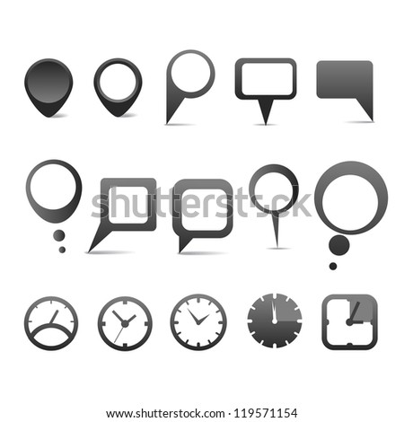 Abstract speech clouds with web icons collection