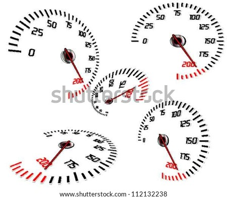 Abstract speedometers, normal and perspective views, vector, isolated in white - stock vector