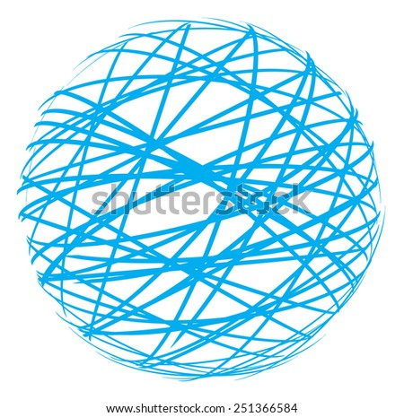 Abstract sphere from blue lines - stock vector