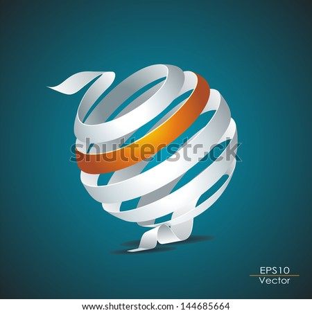 Abstract sphere made from colorful stripes - stock vector