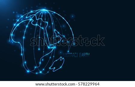 Abstract sphere shape of glowing circles and particles . Global Network connection visualization . Futuristic earth globe . 3d planet concept . Science and technology background