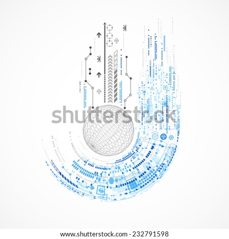 Abstract sphere technological background with various tech elements - stock vector
