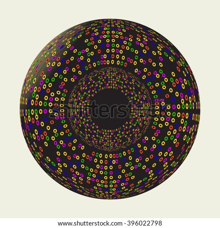 Abstract sphere with colorful dots. - stock vector