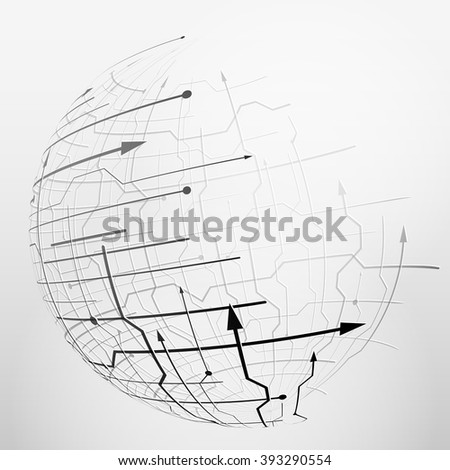 Abstract spherical mesh of geometric lines. Globe grid surface with arrows and dots. Qualitative vector illustration for digital industry, hi-tech, science, engineering, computer systems, etc - stock vector