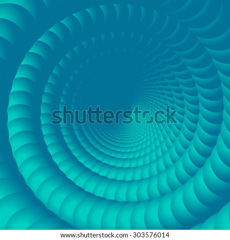 Abstract spiral background illustration. 3d vector blue bubbles. - stock vector