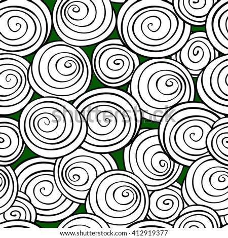 Abstract spiral background. Monochrome Vector seamless pattern.