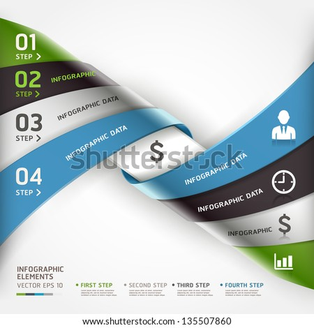 Abstract spiral business steb options banner. Vector illustration. can be used for workflow layout, diagram, number options, infographics, web design. - stock vector