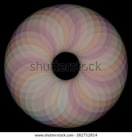 Abstract spirograph concentric circle pattern from intersecting shapes on black background
