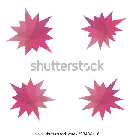 abstract splash star icon set - stock vector