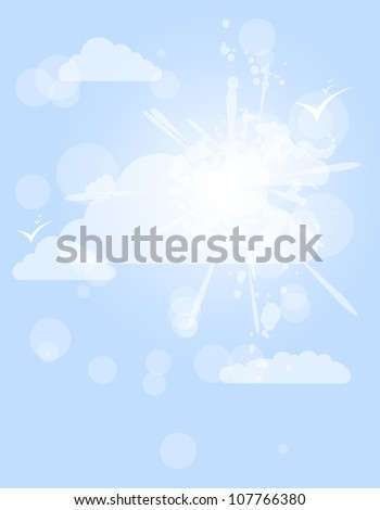 abstract splash white shining cloud vector background - stock vector