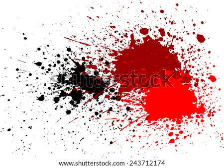 abstract splatter blood red black color background - stock vector