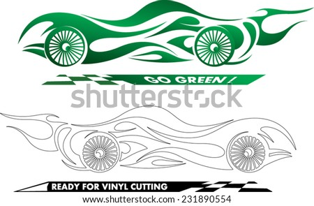 abstract sports car illustration ready for edit and vinyl cutting - stock vector