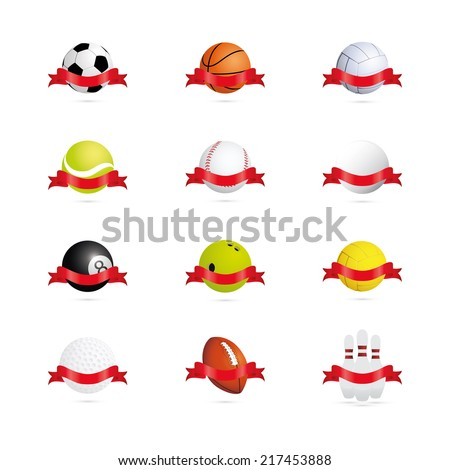 abstract sports objects on a white background - stock vector