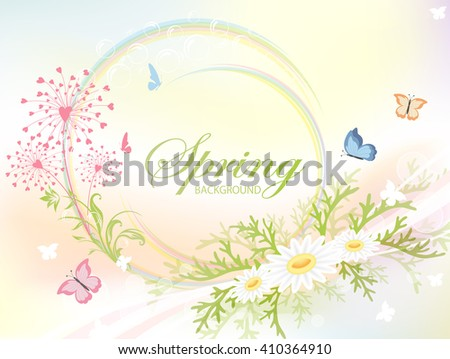 Abstract spring background with flowers and flying butterflies, illustration. - stock vector