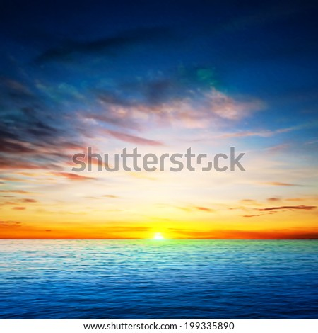 abstract spring background with sea golden sunrise - stock vector