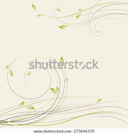 Abstract spring background with some plant swirls. Vector illustration - stock vector