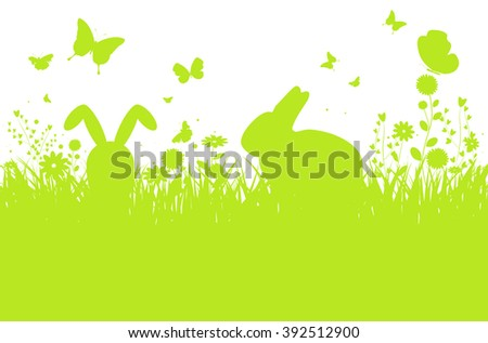 Abstract spring meadow silhouette with bunnies, flowers and butterflies - vector illustration - stock vector