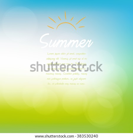 Abstract spring or summer sunny background with blue sky and green meadow, vector illustration