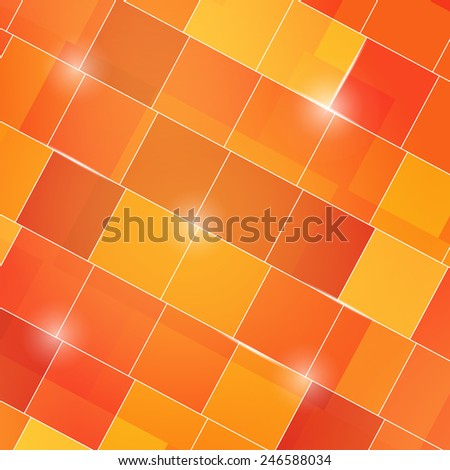 abstract square 3d cubes yellow background - stock vector
