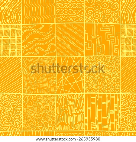 Abstract square doodle seamless pattern - stock vector