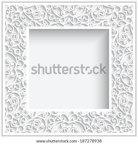 Abstract square frame with paper swirls, vector ornamental background, eps10 - stock vector