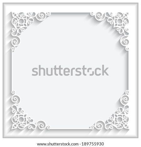 Abstract square lace frame with paper swirls, vector ornamental background, eps10 - stock vector