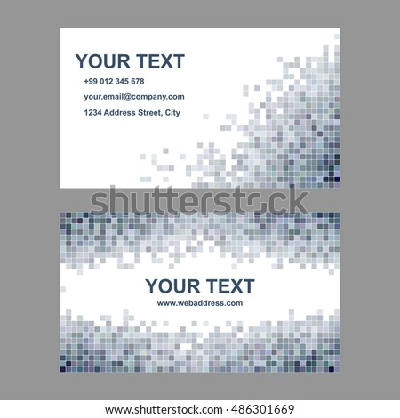 abstract square mosaic business card template stock vector 486301669