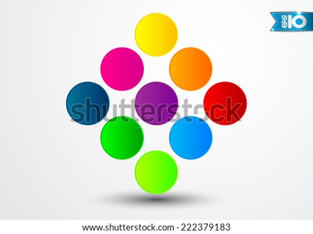 Abstract square of colored circles